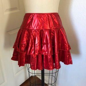 Shiny red spandex ruffled skirt, never worn